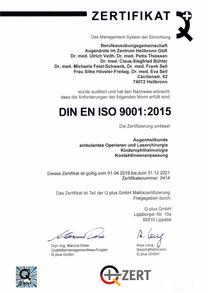 Augenärzte im Zentrum Heilbronn - Zertifikat 9001:2015